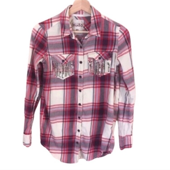 Mudd red white plaid button up sequin shirt XS